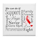 Oral Cancer Words Tile Coaster