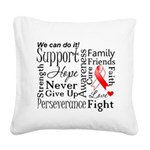 Oral Cancer Words Square Canvas Pillow
