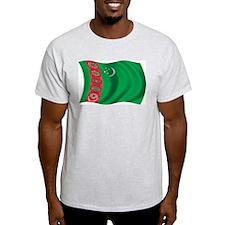 Wavy Turkmenistan Flag Ash Grey T-Shirt