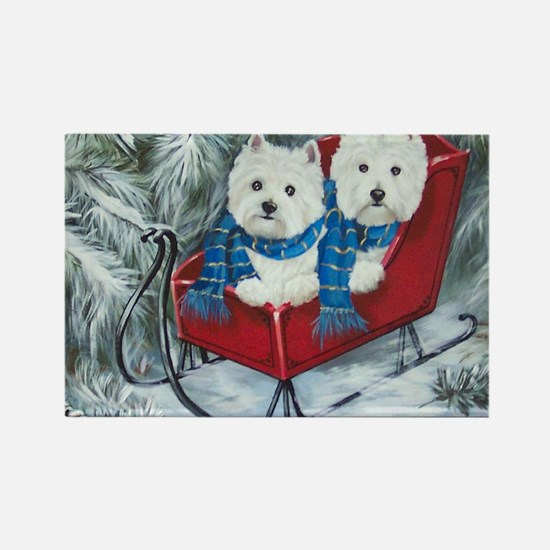 Funny Westies paddy and shanny rescues Rectangle Magnet