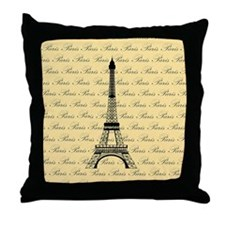 Yellow and Black Paris Eiffel Tower Throw Pillow