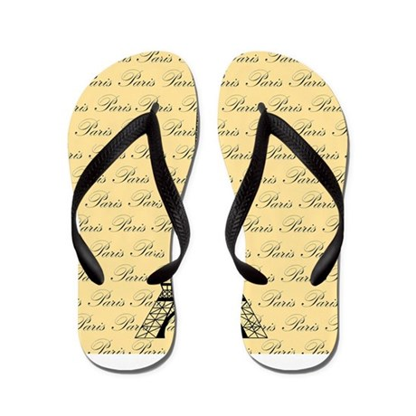Yellow and Black Paris Eiffel Tower Flip Flops