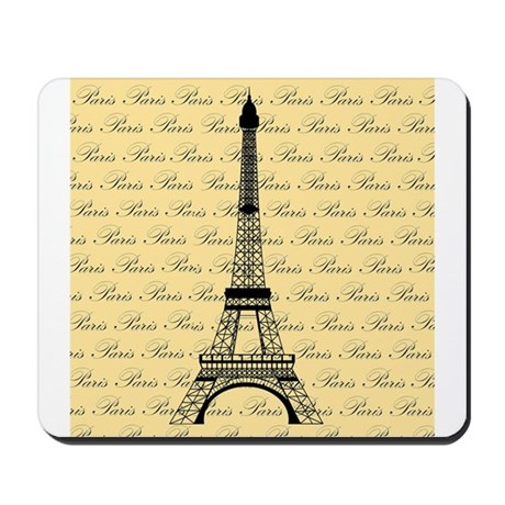 Yellow and Black Paris Eiffel Tower Mousepad