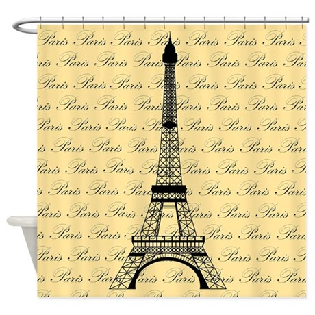 yellow and black paris eiffel tower shower curtain by beachbumkidsandfamily. Black Bedroom Furniture Sets. Home Design Ideas