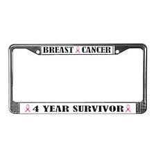 Breast Cancer 4 Year Survivor License Frame