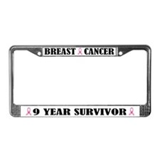 Breast Cancer 9 Year Survivor License Frame