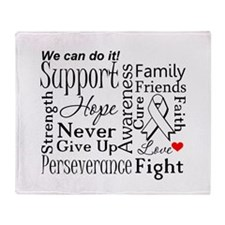 Lung Cancer Words Throw Blanket