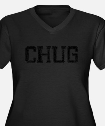 CHUG, Vintage Women's Plus Size V-Neck Dark T-Shir