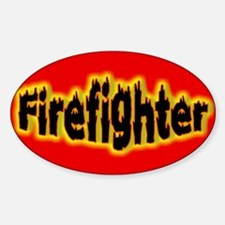 """""""Firefighters Red"""" Oval Decal"""