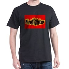 """""""Firefighters Red"""" Black T-Shirt"""