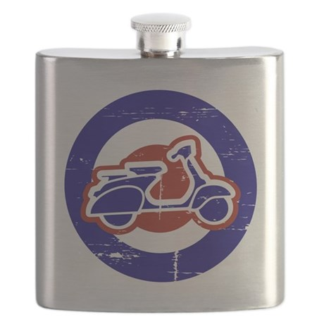 Weathered scooter on mod target Flask