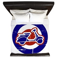 Weathered scooter on mod target King Duvet