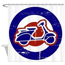 Weathered scooter on mod target Shower Curtain