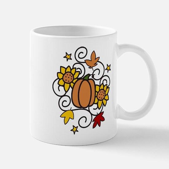 Pumpkin And Flowers Mug