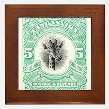 1922 Tanganyika Giraffe Stamp Aqua Framed Tile
