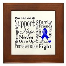 Colon Cancer Words Framed Tile