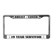 Breast Cancer 19 Year Survivor License Frame