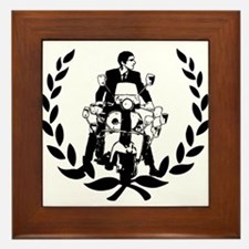 Retro Scooter Rider on Laurel Framed Tile