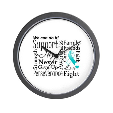 Cervical Cancer Words Wall Clock