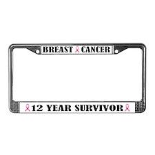 Breast Cancer 12 Year Survivor License Frame