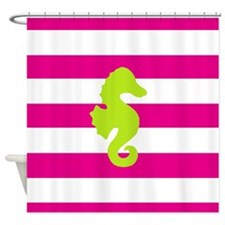 Hot Pink Stripes and Green Seahorse Shower Curtain
