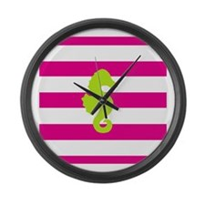 Hot Pink Stripes and Green Seahorse Large Wall Clo