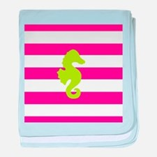 Hot Pink Stripes and Green Seahorse baby blanket