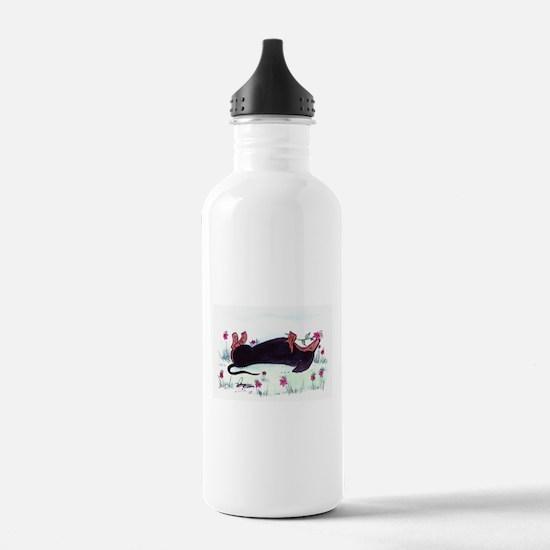 Dachshund enjoying flowers Sports Water Bottle