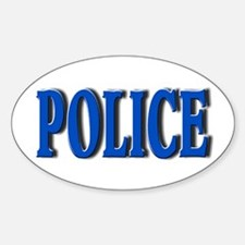 """Occupations Police White"" Oval Decal"