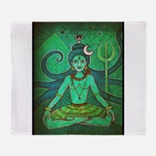 green shiva Throw Blanket