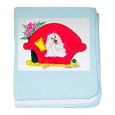 Maltese spoiled with ice cream baby blanket
