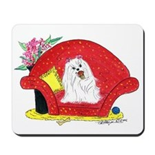 Maltese spoiled with ice cream Mousepad