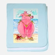 Pig at the beach baby blanket