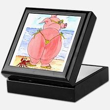 Pig at the beach Keepsake Box