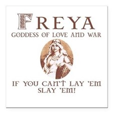 "Freya Love and War Square Car Magnet 3"" x 3"""