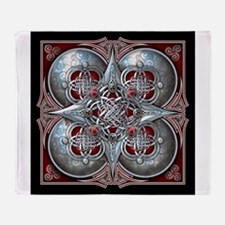Silver & Red Celtic Tapestry Throw Blanket