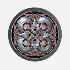 Silver & Red Celtic Tapestry Wall Clock