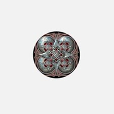 Silver & Red Celtic Tapestry Mini Button
