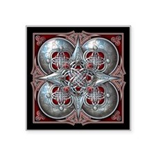 """Silver & Red Celtic Tapestry Square Sticker 3"""" x 3"""
