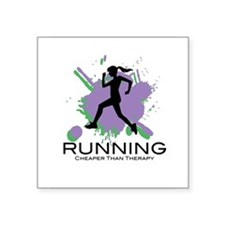 "Running Cheaper than Therapy Square Sticker 3"" x 3"