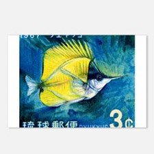 1967 Ryukyu Islands Forcepsfish Stamp Postcards (P