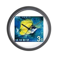1967 Ryukyu Islands Forcepsfish Stamp Wall Clock