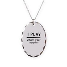Cool Clarinet Designs Necklace Oval Charm