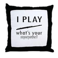 Cool Flute Designs Throw Pillow