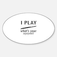 Cool Flute Designs Sticker (Oval)