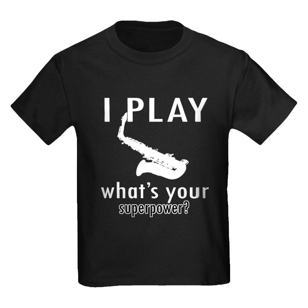 CafePress Cool Saxophone Designs Kids Dark T-Shirt