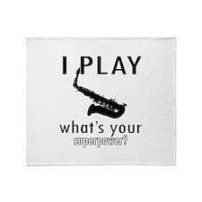 Cool Saxophone Designs Throw Blanket
