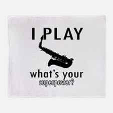 Cool Saxophone Designs Throw Blanket