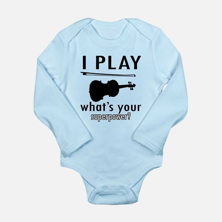Cool Violin Designs Long Sleeve Infant Bodysuit