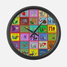 alphabet soup creations Large Wall Clock